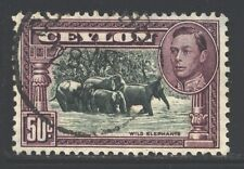 CEYLON 286e SG394d Used 1942 50c KGVI Wild Elephants Perf 11&1/2X11 Cat$4