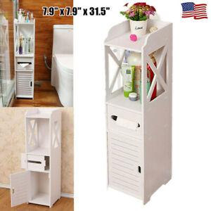 Bathroom Storage Organizer Floor Cabinet Rack Shelf Standing w/Drawers Furniture