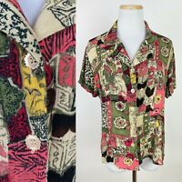 *FLAWS* VTG Ditsy Floral Quilt Print Blouse 12 / L Crinkled Rayon Flower Buttons