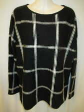 Charter Club 100% Cashmere Black Cream Longer Length Sweater M