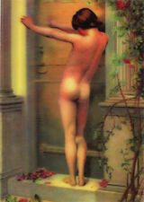 William Merritt Chase Painting - Nude Boy 3D Lenticular Postcard Greeting Card