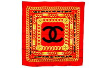 CHANEL Large Format Scarf 100% Silk Coco Mark CC Logo Chain Accessory Red 3695k