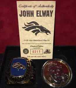 Highland Mint John Elway 24 Kt Gold Plated Coin & Paperweight Ring LE /2500