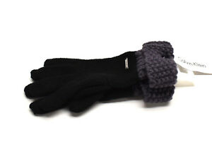 Calvin Klein Geo Cuff Knit Gloves Black Purple New! NWT