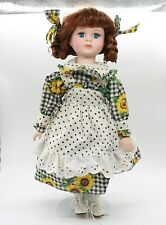 Vintage Country Girl Porcelain Doll with Sunflowers Printed Dress