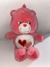 "Play Along 2004 Care Bears Love - A - Lot Bear Pink Two Hearts 11"" Plush Bear"