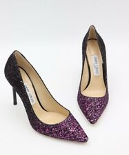 Jimmy Choo Romy 100 Pink Black Glitter Degrade Pointy Toe Pumps Heels 8.5 38.5
