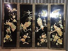 4 Vintage Asian Black Lacquer Mother of Pearl Wall Panels Art Chinese Birds
