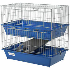 PawHut 2-Tier Small Animal Cage Hamster Cage Metal Wiring w/ Accessory Pet Home