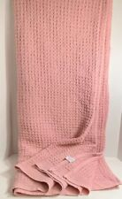"""LARGE 68"""" X 96"""" PINK 100% COTTON KNIT AFGHAN SOFT THROW SOFA/ BED BLANKET"""