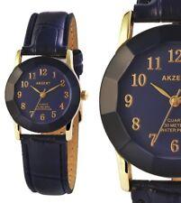 elegante Damen Cutglas Armbanduhr Blau/Gelbgold Kunstlederarmband von AKZENT