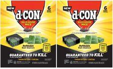 2 D-Con Mice Killer Refillable Bait Station & 6 Bait Block Mouse Child Pet Proof