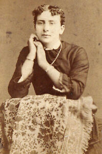 Young Woman Leaning on Rug - 1880s CDV Photo - Hafer - Reading, PA