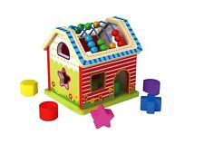 Activity House Wooden Shape Sorter & Beads - Counting Educational Toy
