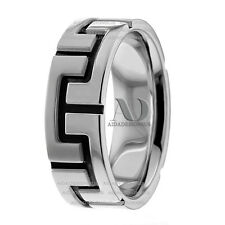 Solid 10K White Gold With Black Accent Men's Wedding Ring Band 6.5mm Wide