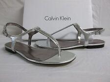Calvin Klein Size 7 M Naomi Silver T Strap Sandals New Womens Shoes
