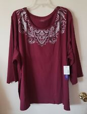 WOMENS PLUS SIZE 5X 6X 34/36 TOP  3/4 SLEEVES NWT CATHERINES TUNIC