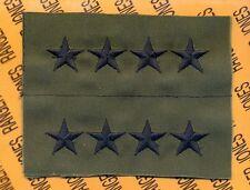 US ARMY General GEN 0-10 OD Green & Black rank patch set