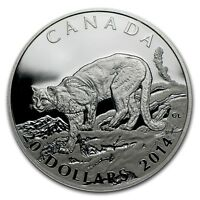 2014 Canada $20 Dollars 9999 silver coin COUGAR Atop a Mountain proof