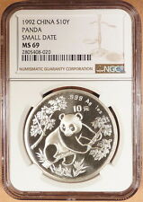 1992 Small Date S10Y China Panda, NGC graded MS69, Brilliant, .999 1 oz. Silver