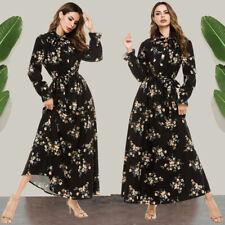 Women Black Printed Long Sleeve Maxi Dress Muslim Abaya Kaftan Jilbab Party Robe