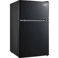 3.2 Cu Ft Mini Fridge Freezer 2-Door Compact Refrigerator Black/Stainless Steel