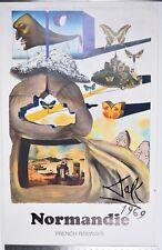 Cartel Vintage Original 1969 Salvador Dali Normandía ferrocarriles franceses Normandie