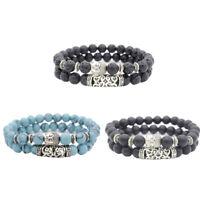 Neue Herren Spot Natürliche Lava Stein Silber Buddha Perlen Charm Armband