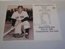 """Philip Francis """"Scooter"""" Rizzuto New York Yankees HOF Induction Card 1994 8x10"""