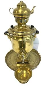 Antique PERSIAN SAMOVAR Brass Stamped + Teapot With Tray Set Includes Cups