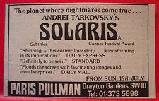 """Andrei Tarkovsky's Solaris Vintage ORIGINAL 1981 Press/Magazine ADVERT 3.5""""x 2"""""""