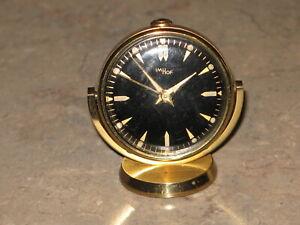 IMHOF Swivel Swiss 8 Day, 15 jewels,  Alarm Desk Clock Brass with black dial