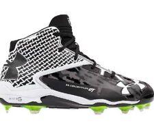 Under Armour Deception Mid DT 1264164-011 Metal Black/White Baseball Shoes 13