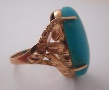 VTG 14K Solid Yellow Gold Leaf Etched Motif Large Turquoise Cabochon Ring SZ 5.5