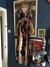 Nicole Farhi Black Cream Red Poppy Pleated Cotton Dress Pockets Fit Size 8 - 10