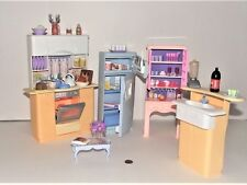 Vintage Barbie Doll Light Up Kitchen Playset with Extras and Food Stuff Lot