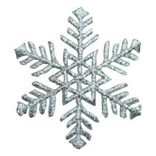 Silver Snowflake Applique Patch (Medium, Iron on)