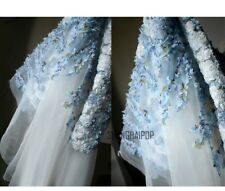 3D Floral Mesh Organza Fabric Wedding Sheer Lace Tulle Dresses Handmade 45*150cm