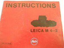Leica M4-2 Instruction Manual 30 Pages Vintage Original Manual English