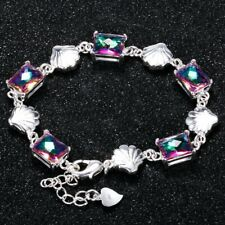 Charm 925 Silver Shell Design Square Rainbow Topaz Jewellery Fashion Bracelet