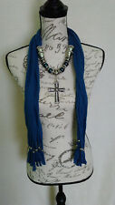 Womens Bling Rhinestone Cross Big Beaded Silver Denim Blue Scarf With Jewelry