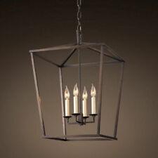 Vintage Chandelier Geometric Cage 4 Candle Light Kitchen Foyer Pendant Lighting