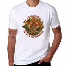 Magic Mushroom Printed Men's T-shirts funny Cotton wihte Short Sleeve Top Tees