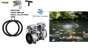 Small to LARGE Lake & Fish Pond Aerator System w/2 RING Diffusers NEW 1/2hp Pump