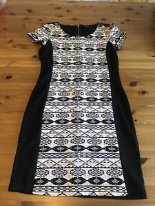 Vila Pencil Dress Size M Fits 10 Black Multi Pattern Stretch Zip Back