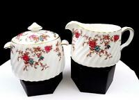 "MINTON ENGLAND #5376 FIFE ANCESTRAL 3 1/8"" CREAMER AND LIDDED SUGAR 1951-1991"