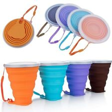 (US STOCK) 270ML Portable Travel Silicone Cup Telescopic Collapsible