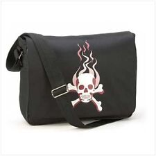 FLAMING SKULL DESIGN  STURDY CANVAS MESSENGER BLACK BAG