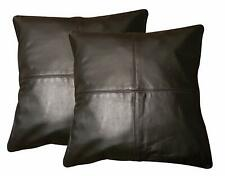 2 x Genuine 100% Black Leather Sofa Cushion Covers Home Decor