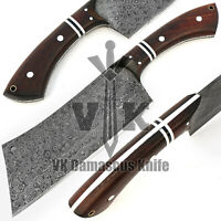 VK5513 Handmade Damascus Steel Chef Cleaver Chopper Knife Rose Wood Handle